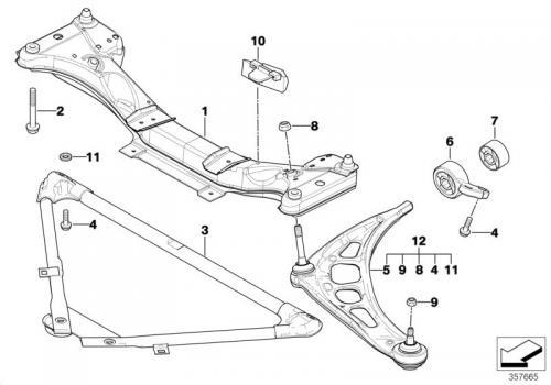 BMW E46 ロアアームコントロールブッシュ図