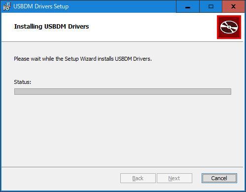 USBDM USBドライバーをインストール中