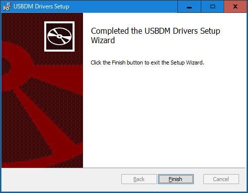 USBDMのUSBドライバーのインストール完了