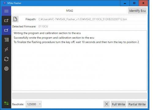 MS4xFlasherの書込み完了後の画面