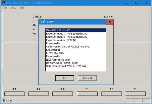 NCS-Expertプロファイル選択画面